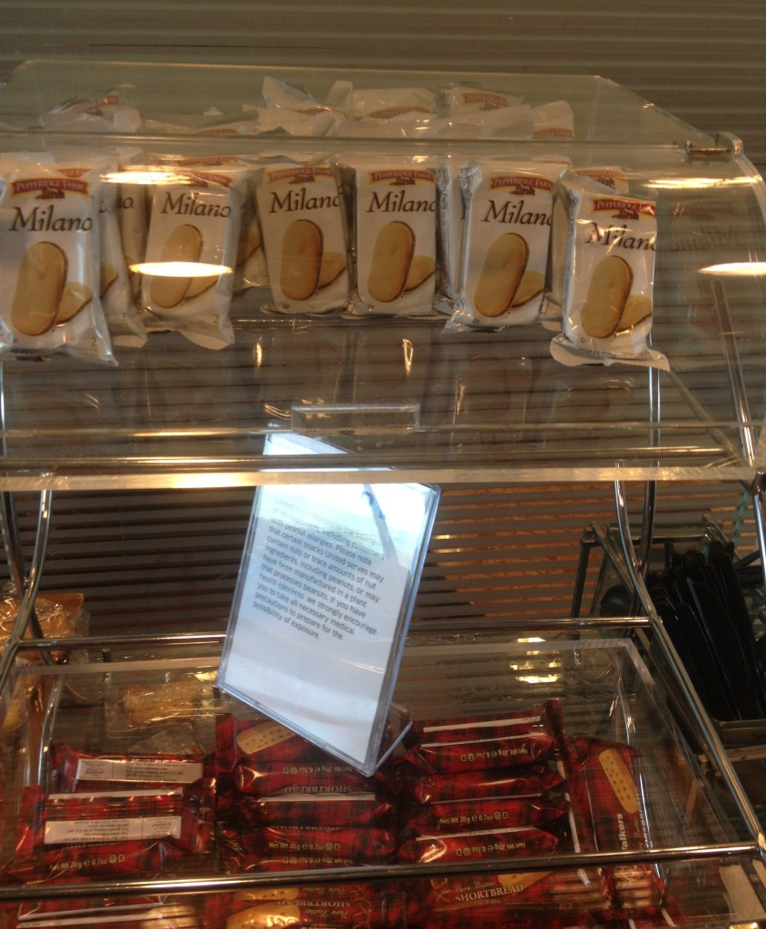 Milano Cookies in the Orlando Lounge. Yum.