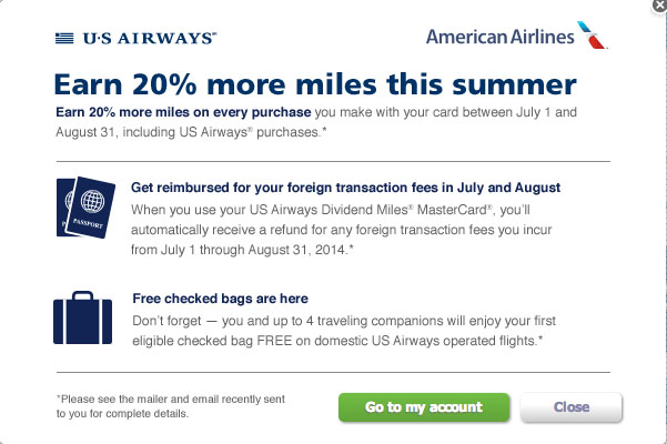 US Airways 20 Percent