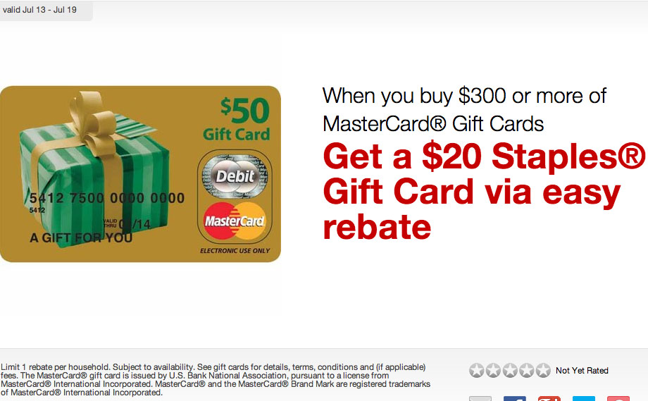 c0e75e29cac7 Staples has a deal this week where when you buy  300 worth of gift cards  you will get a  20 Staples gift card in the mail via their easy rebate  program ...
