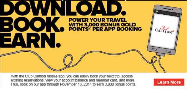 Club Carlson 3K Mobile Booking Bonus
