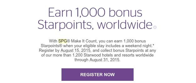 SPG Weekend bonus