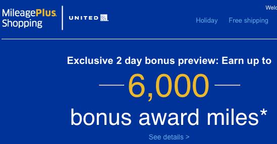 United MileagePlus Shopping 6000 Bonus